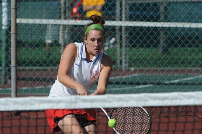 nancy scholz/special to the times news Jim Thorpe's Ellyn Tomko returns a ball during the District 11 Class AA Singles Tournament on Thursday. Tomko dropped her opening match to Paige Gurski of Bethlehem Catholic.
