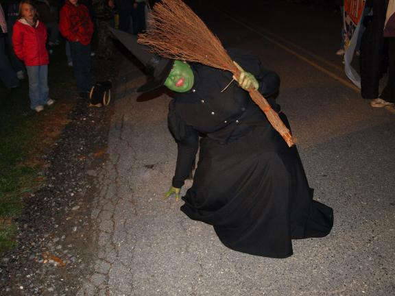 ANDREW LEIBENGUTH/SPECIAL TO THE TIMES NEWS The Wicked Witch of the West was part of the West Penn Brownie Troop 1323's theme of The Wizard of Oz during the Andreas Halloween Parade.
