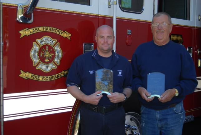 RON GOWER/TIMES NEWS Scott Wuttke, left, of the Lake Harmony Rescue Squad, was the recipient of the Emergency Medical Services Award for the state at the Pa. State Firemen's Association, recently. Lake Harmony Fire Chief Ralph Lennon, right, was…