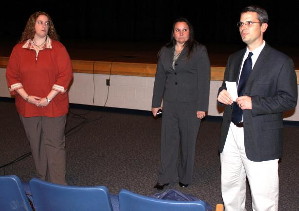 "ANDREW LEIBENGUTH/SPECIAL TO THE TIMES NEWS Pictured talking to parents, teachers, and visitors during an ""Internet Safety for Parents"" discussion held recently in the Tamaqua Auditorium are, from left, Elementary Technology Coach Jolene Barron,…"