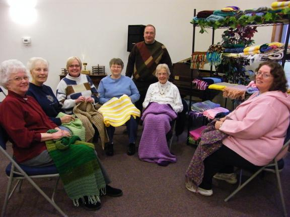 CAROL ZICKLER/SPECIAL TO THE TIMES NEWS Grace-St. Paul United Methodist Church on Route 903 in Jim Thorpe has a group of talented women who have knitted and crocheted over 400 prayer shawls since 2005. Here Connie Melber, Irene Pyne, Cassie Wallace,…