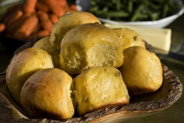 AP PHOTO/LARRY CROWE By using pumpkin puree in these Double Pumpkin Dinner Rolls, they are kept moist and are wonderfully rich.