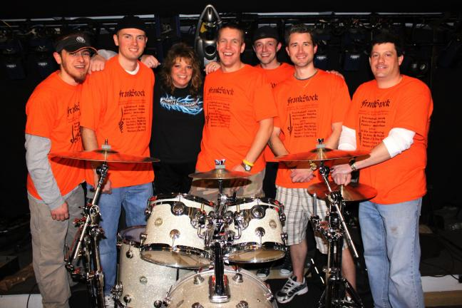 "ANDREW LEIBENGUTH/SPECIAL TO THE TIMES NEWS Pictured from left are roadie Greg Taylor, performers Brian Legutko, Ranee ""Peach"" Gubala, event organizer Steve ""Steve-O"" Ulicny, Tom Flamini, Joel Digris, and Frank ""Blazer"" Blozusky."