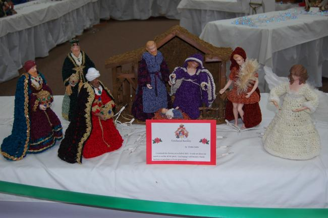 ELSA KERSCHNER/TIMES NEWS Debbie Gable crocheted this nativity. It involves a month's work.