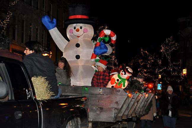 Cub Scout Pack 138 of Jim Thorpe rode along with Frosty the Snowman during the Olde Time Christmas Parade in Jim Thorpe