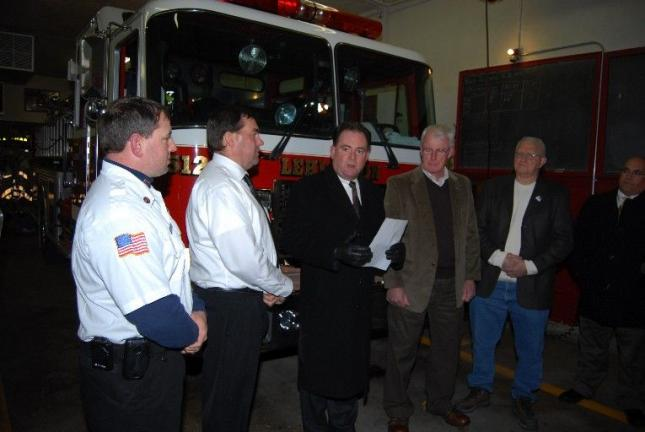 State Rep. Keith McCall, third from left, announces the acquisition of a $1.5 million grant to be applied to an expansion project for the Lehighton Fire Department. Looking on are, left to right, Pat Mriss, captain of the fire department; Steve…