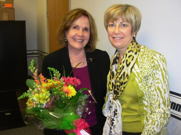 ADELE R. ARGOT/SPECIAL TO THE TIMES NEWS Monroe County Interagency Council's Immediate Past President Cyndi Starner, right, presented Norma Fagan, left, with one more recognition of fond farewell and thanks for the many services she has rendered the…
