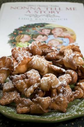 "A dish of fried ribbon cookies are seen in Concord, N.H. These cookies from Lidia Bastianich's cookbook ""Nonna Tell Me a Story,"" are a Christmas tradition in her home and might become one in yours. (AP Photo/Larry Crowe)"