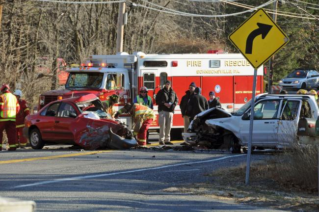LARRY NEFF/SPECIAL TO THE TIMES NEWS A young Slatington woman was killed in this two vehicle crash that occurred Thursday morning in Washington Township, Lehigh County.