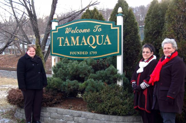 "JOE PLASKO/TIMES NEWS The Tamaqua Area Community Partnership has purchased and installed four new ""Welcome to Tamaqua"" signs at the four entrance points of the borough on Routes 209 and 309. Displaying the sign at the north entrance of Tamaqua on…"