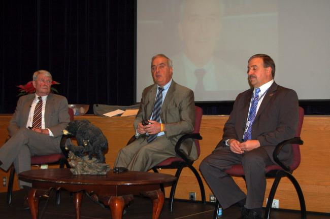 LINDA KOEHLER/TIMES NEWS Left to right, two former Pleasant Valley School District superintendents, Dr. John Nye and Dr. Frank Pullo and present superintendent, Dr. Douglas Arnold, met with PVHS students for a question-and-answer session as part of…