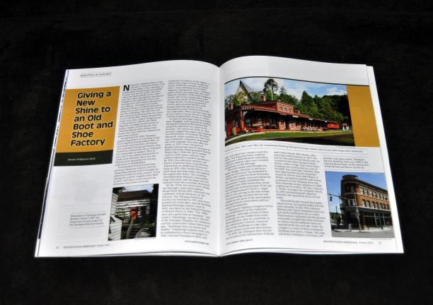 DONALD R. SERFASS/TIMES NEWS A feature story in Pennsylvania Heritage magazine's winter edition, just released, showcases the rejuvenation of Tamaqua by telling the story of the adaptive reuse of the historic, circa 1875 Tamaqua Boot and Shoe…