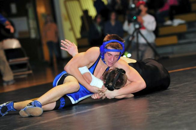nancy scholz/times news Palmerton's Joseph Bubble (top) battles Northwestern's Dylan Badesso in the 135 pound bout. Bubble eventually picked up a pin.