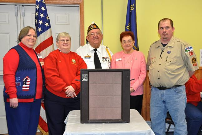 Speaking on behalf of the American Legion Auxiliary were, from left, District President Catherine Olker, Frances Keener, Post 360 Commander Thomas Keener, Department President Beverly Reinhard and Christopher Keller.