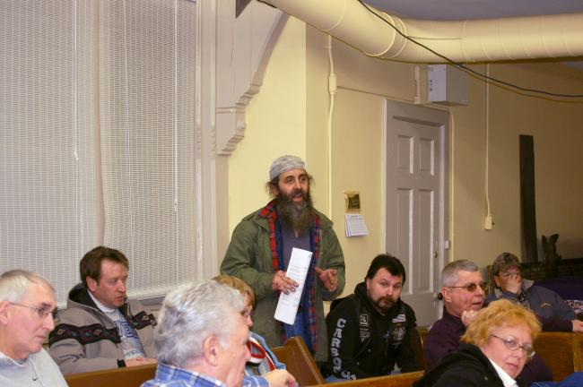 CHRIS PARKER/TIMES NEWS Lansford resident Joseph Butrie on Wednesday pitches the idea of moving Lehighton's annual Bike Night to Lansford. Council later voted to support the idea.