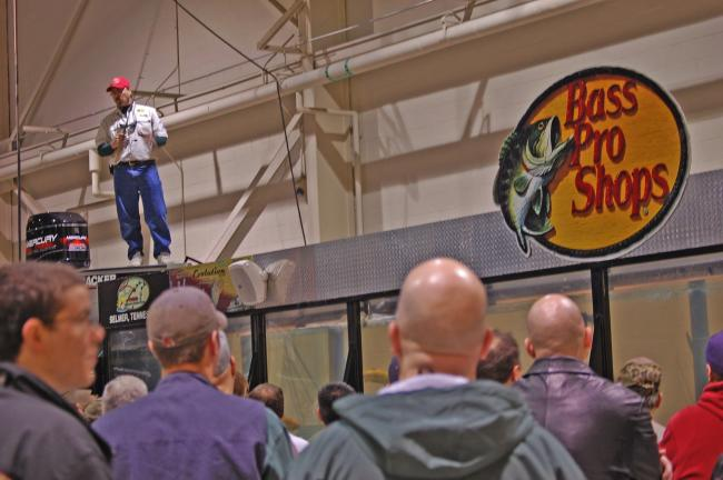 Daily seminars by professional bass anglers at the Hawg Trough are one of the most popular attractions at the Greater Philadelphia Outdoor Sportshow.