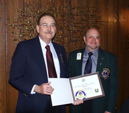 WILLIAM GADDES/SPECIAL TO THE TIMES NEWS Coaldale Lions Club president Robert Ames, left, and Past District Governor Bob Neumoyer.