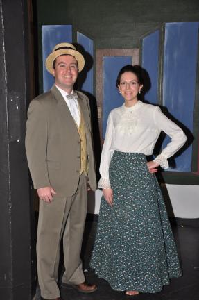 "RON GOWER/TIMES NEWS Having lead roles in ""The Music Man,"" being presented March 3-5 by Zion Opera Workshop in Lehighton, are Bryan Buffington, left, as Harold Hill, and Jessica Schafer, who plays Marian Paroo."