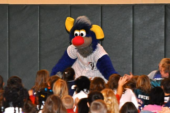 "VICTOR IZZO/SPECIAL TO THE TIMES NEWS Scranton/Wilkes-Barre Yankees baseball team's mascot ""Champ"" sports blue fur, two large yellow ears, and a huge red nose."