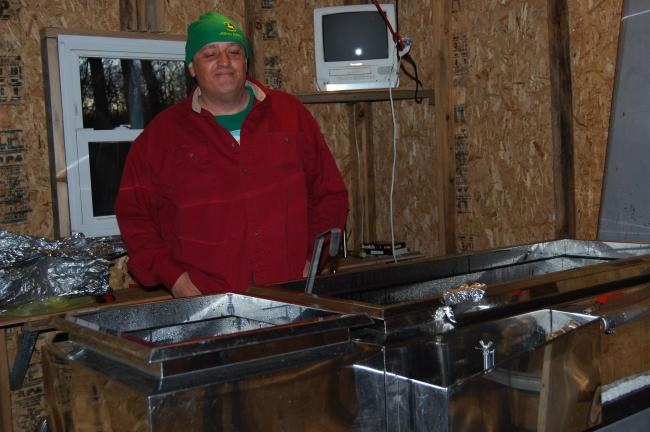 ELSA KERSCHNER/TIMES NEWS Charlie Hinkel bought an evaporator that cooks 25 gallons of sap in an hour.