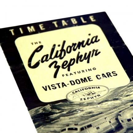 Timetable of the California Zephyr train line, which runs between San Francisco and Chicago, and was inaugurated on March 20, 1949. A 30-minute color and sound film showcases this famous western train.