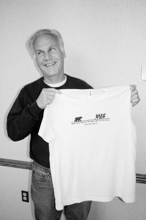 LINDA KOEHLER/TIMES NEWS Jim Mannello, chairman of the West End Rotary Club's 4th Annual Bear Run Run and Fun Walk says there will be a free t-shirt for the first 150 people who preregister by April 1.