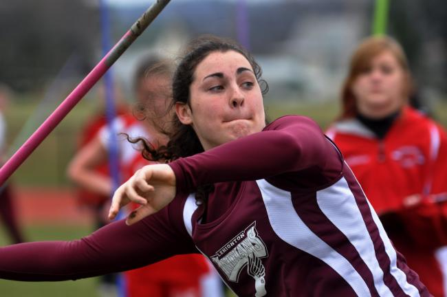 mike feifel/times news Lehighton's Sarah Keer gets set to release the javelin. Keer won the event with a throw of 111-8.