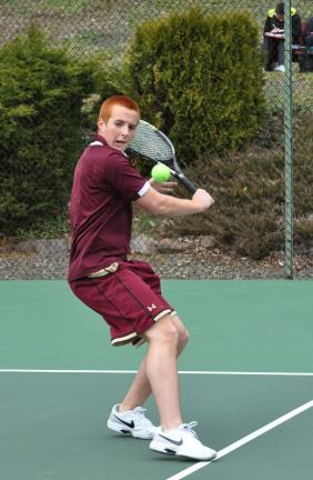 ron gower/times news Lehighton's Nick Mantz sets his feet for a backhand shot. Mantz posted a three set victory against Tamaqua.