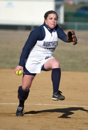 bob ford/times news filephoto Northern Lehigh's Maggie Lear unwinds with a pitch during a game against East Stroudsburg North. This season, the softball rubber was moved back three feet.