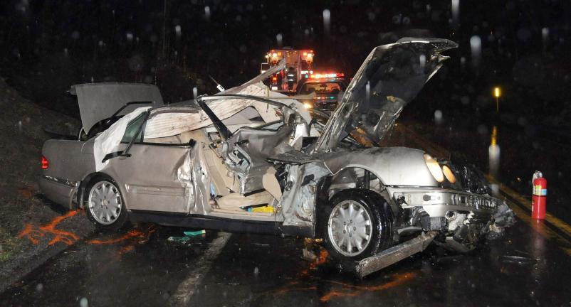LARRY NEFF/TIMES NEWS A Weatherly man was killed when his car left SR93 in Packer Township Saturday evening, and rolled over several times ejecting him. A female teenage passenger was injured in the crash.