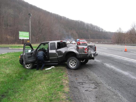 KATHY KUNKEL/TIMES NEWS A Ford Ranger operated by Ralph Shafer of Lansford was rear-ended shortly before 8:30 a.m. today as Shafer was attempting to turn into the parking lot at Stoves 'N Stuff on SR309. Shafer was transported to Lehigh Valley…