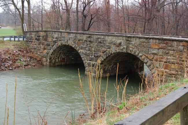 CHRIS PARKER/TIMES NEWS The old stone bridge near Baer Memorial Park in Lehighton is due for repairs.