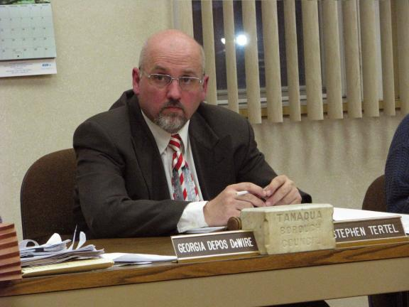 LIZ PINKEY/SPECIAL TO THE TIMES NEWS Stephen Tertel serves as president during his final day as a member of the Tamaqua Borough Council Tuesday night.