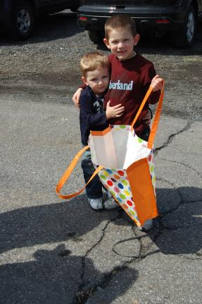 ELSA KERSCHNER/TIMES NEWS Benjamin and Blake Rider expect to get a lot of eggs if the size of their bag means anything.