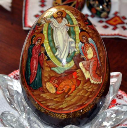 DONALD R. SERFASS/TIMES NEWS  It took Georgine Postupack Borchack three years to complete this pysanky masterpiece written on an ostrich egg.