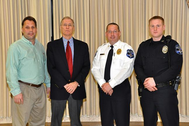 "VICTOR IZZO/SPECIAL TO THE TIMES NEWS The main speakers at the Jim Thorpe Area Police Department's ""Drug Awareness & Recognition"" program were, left to right : Jim Thorpe Mayor Michael Sofranko, Carbon County District Attorney Gary Dobias, Jim…"