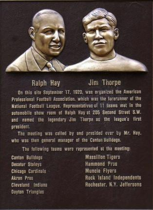 In Canton, Ohio in 1920, 11 teams including the Canton Bulldogs gathered at Ralph Hay's Hupmobile auto showroom to form the precursor to the National Football League, the American Professional Football Conference. Jim Thorpe was chosen as its first…