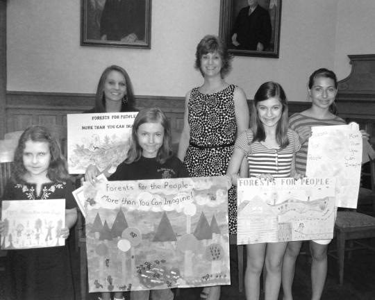 HEATHER BACSICK/SPECIAL TO THE TIMES NEWS First place winners of the 36th Annual Carbon County Conservation District Poster Contest pose with district secretary and contest coordinator Audrey Wargo, back row, right. Front row from left, Brynn Wentz,…