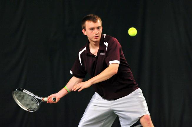 nancy scholz/times news Lehighton's James Sverchak prepares to return the ball during Thursday's District 11 Class AA Tennis Tournament. Sverchak won his opening match, but was eliminated in the second round.