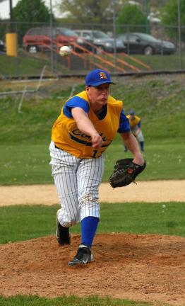 RON GOWER/TIMES NEWS Marian's Ryan Gimbi, who started on the mound against Weatherly on Thursday. The Colts went on to beat the Wreckers 17-1 and Gimbi helped his own cause with a two-run hpmer in the second inning.