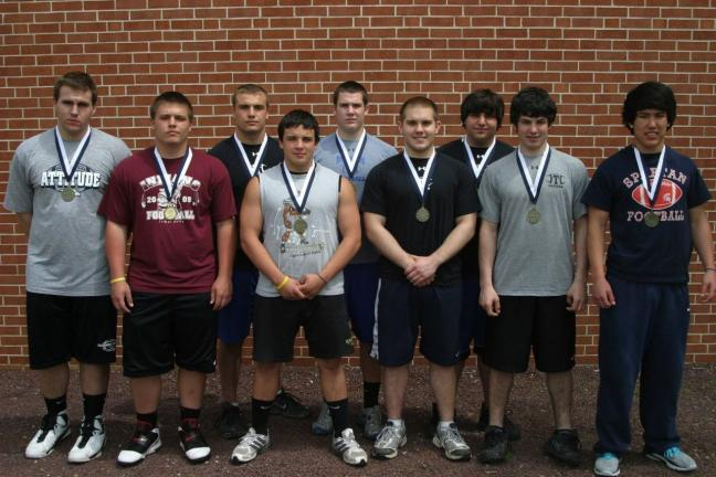 The gold medal winners in the 16-18 year old division at the Blue Bomber Football Invitational Weightlifting Competition include, from left, Gavin Sonntag (Salisbury), Zach Breiner (Lehighton), Pete Conforti (Tamaqua), Austin Forte (Mahanoy Area),…