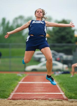 bob ford/times news Kayla Hope of Tamaqua won the Class AA long jump with a leap of 17-3.