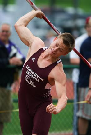 bob ford/times new Lehighton's Jon Strauss won the AAA javelin with a throw of 191-5.
