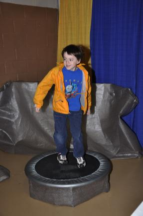 AMY MILLER/TIMES NEWS Ronald Miller, second grade student at Shull-David Elementary in Lehighton, jumps on the trampoline during one of the many stations at the 22nd Annual Children's Health Fair, hosted by Blue Mountain Health System.