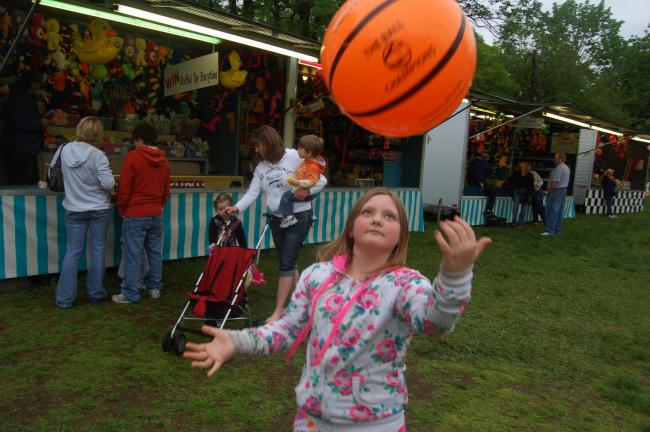 TERRY AHNER/TIMES NEWS Hope Ross, 8, of Pen Argyl, taps this plastic basketball as high as she can Sunday at the sixth annual Crusaders For A Cause carnival.