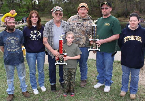 ANDREW LEIBENGUTH/SPECIAL TO THE TIMES NEWS Pictured from left are Kellner's Dam Association trustee Anthony McGeehan, secretary Amy Bieniek, president Pete Bieniek Jr., trophy winner Kailyn Ever, 9, who caught a 23.5 inch fish, Cody House, 15, who…