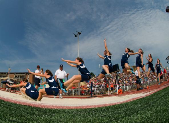 bob ford/times news Tamaqua's Kayla Hope shows her gold medal form in this eight photo composite of her winning long jump at the PIAA Class AA State Track and Field Championships on Friday.