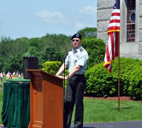 """Sometimes, the guilt of not knowing the fallen is as great as the pain of losing someone you know,"" says Sgt. Major George Holmes to 140 gathered at Sky-View Memorial Park for Monday's Memorial Day service."