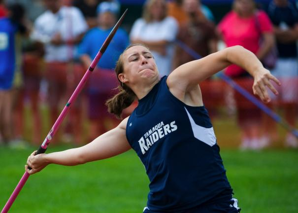 bob ford/times news Tamaqua's Christine Streisel gets ready to release a javelin throw during Saturday's PIAA Track and Field Championships. Streisel won a gold medal in Class AA.