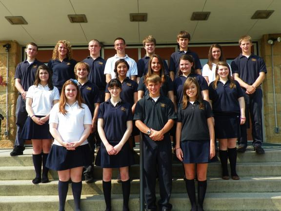 SPECIAL TO THE TIMES NEWS Marian Catholic High School students who scored 600 or better in math, reading and writing sections of the SAT included: front row from left: Rose Sheridan, Megan Rubino, Connor Schleicher and Lydia Stianchie. Second row:…